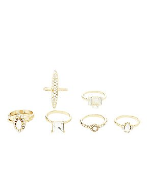 Embellished Stackable Rings - 7 Pack