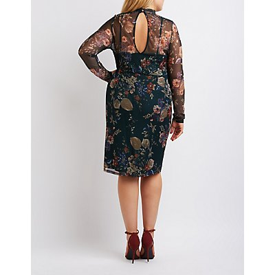 Plus Size Floral Mesh Mock Neck Dress