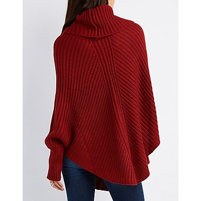 Cable Knit Cowl Neck Poncho Sweater