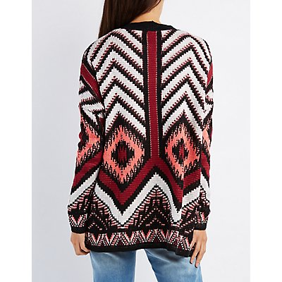 Chevron Longline Open Cardigan