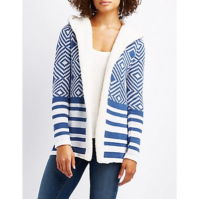 Patterned Shearling-Trim Hooded Cardigan