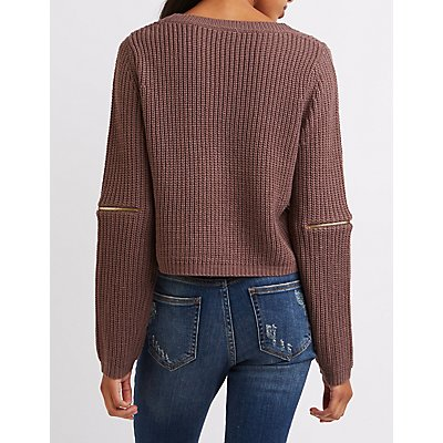Cropped Shaker Stitch Sweater