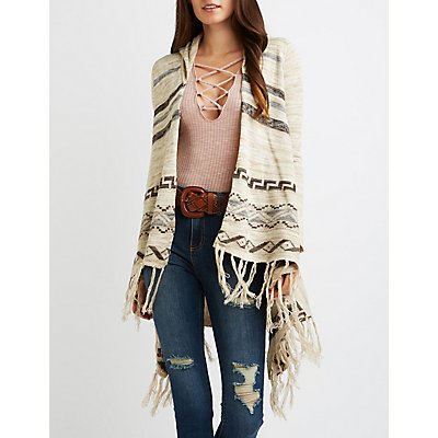 Tribal Hooded Fringe Cardigan