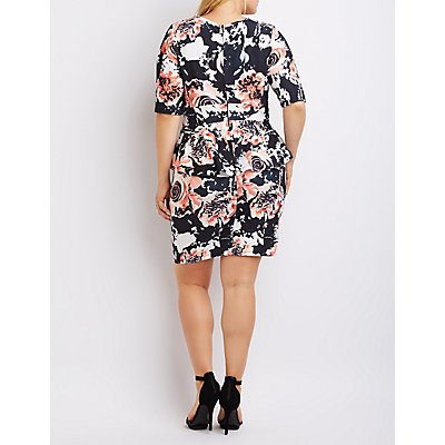 Plus Size Floral Notched Peplum Dress