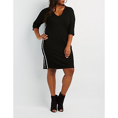 Plus Size Striped Hooded Midi Dress