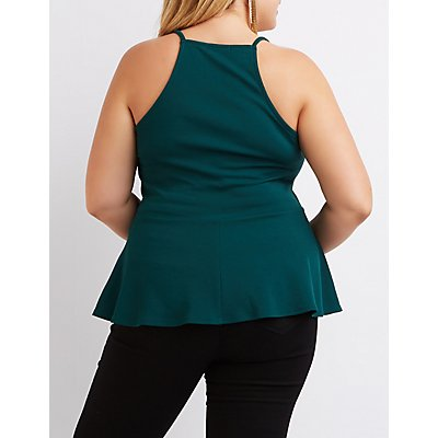Plus Size Plunging Notch Peplum Top