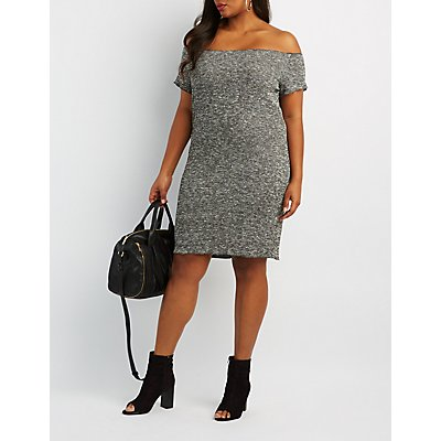 Plus Size Marled Off-The-Shoulder Midi Dress