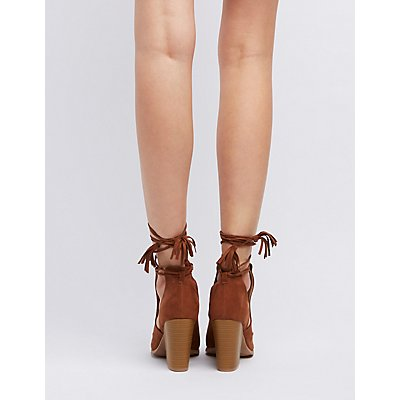 Qupid Cut-Out Peep Toe Ankle Booties
