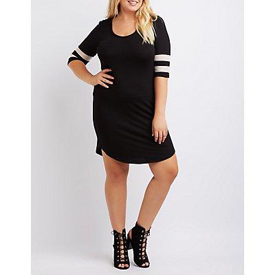 Plus Size Mesh Varsity Stripe T-Shirt Dress