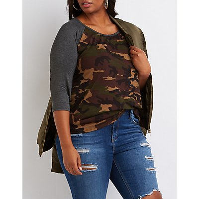 Plus Size Camo Baseball Tee