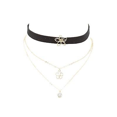 Flower Embellished Choker & Layering Necklaces - 3 Pack