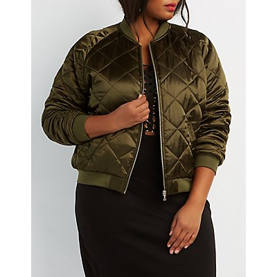 Plus Size Quilted Satin Bomber Jacket