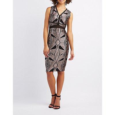 Glitter & Mesh Bodycon Dress