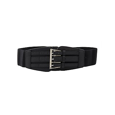 Plus Size Buckled Elastic Waist Belt