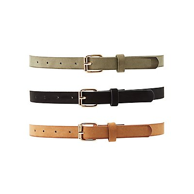 Plus Size Faux Suede Buckle Belts - 3 Pack