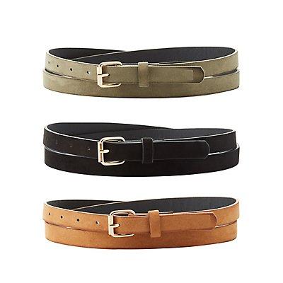 Plus Size Faux Suede Buckle Belts - 3 Pack