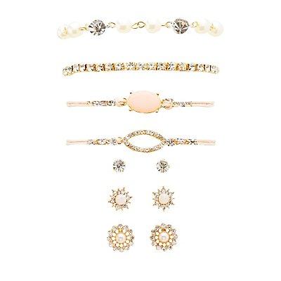 Embellished Bracelets & Earrings Set
