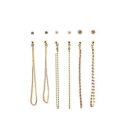 Chainlink Drop & Stud Earrings - 6 Pack