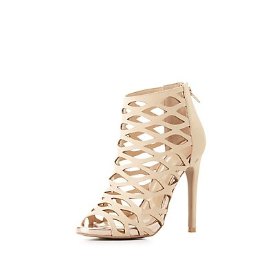 Metallic-Trim Laser Cut Dress Sandals