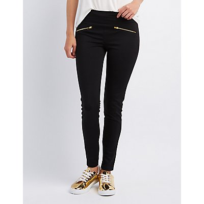 High-Rise Ponte Zipper-Trim Leggings