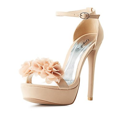 Qupid Flower Accent Two-Piece Dress Sandals