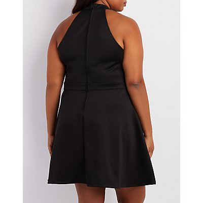 Plus Size Lace Bodice Skater Dress