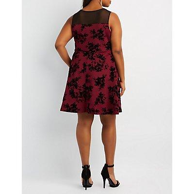 Plus Size Floral Velvet Skater Dress