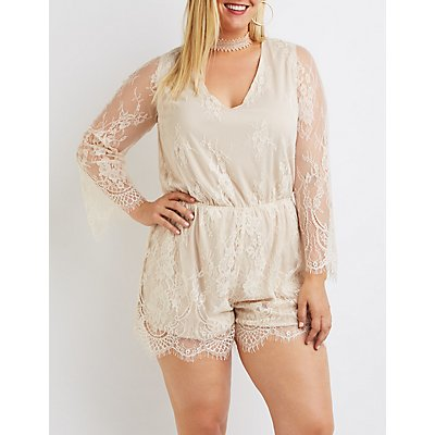 Plus Size Eyelash Lace V-Neck Romper
