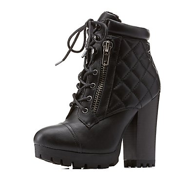 Bamboo Lug Sole Quilted Combat Booties