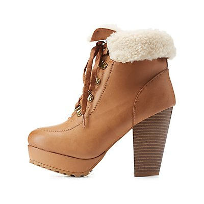 Bamboo Shearling-Cuffed High Heel Hiking Booties