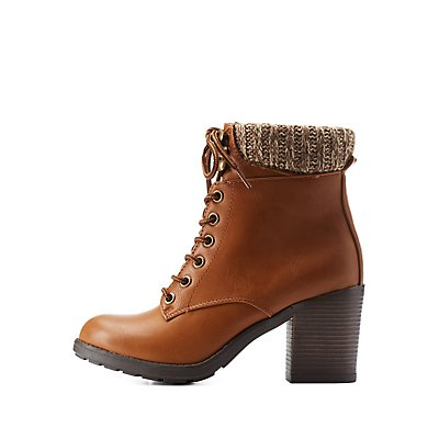 Sweater-Cuffed Lug Sole Booties