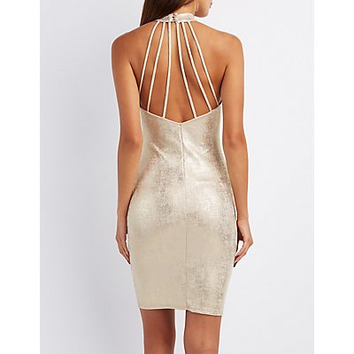 Foil Knit Mock Neck Caged-Back Dress
