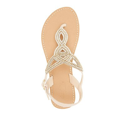 Rhinestone-Embellished Looped Thong Sandals