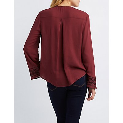 Embroidered Surplice Blouse