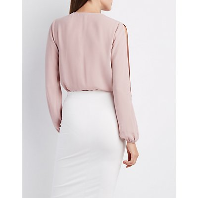 Split Sleeve Surplice Bodysuit