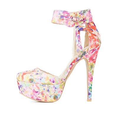Qupid Floral Print Platform Heels