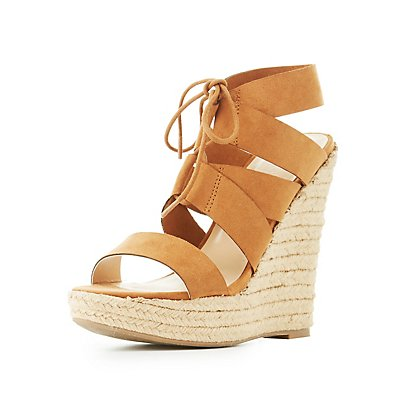 Lace-Up Espadrille Wedge Sandals