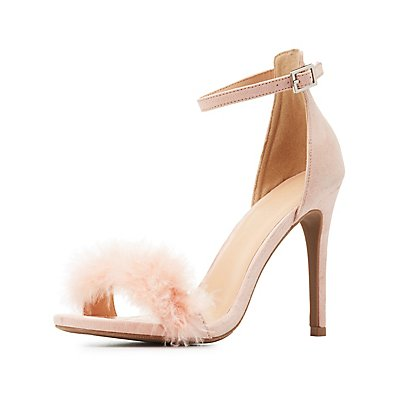 Two-Piece Feather Dress Sandals