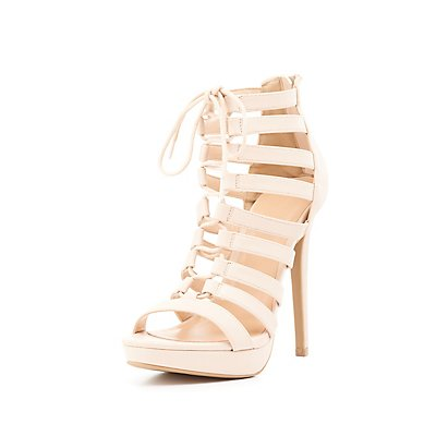 Caged Lace-Up Platform Sandals