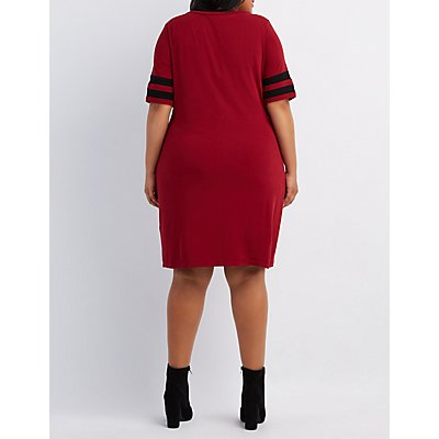 Plus Size Varsity Stripe T-Shirt Dress