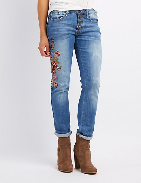 Machine jeans embroidered skinny charlotte russe
