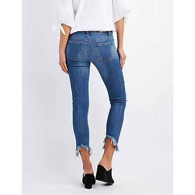 Machine Jeans Frayed Hem Destroyed Skinny Jeans