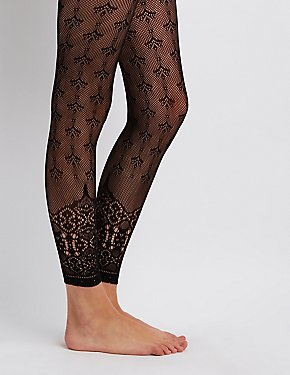 Patterned Fishnet Footless Tights