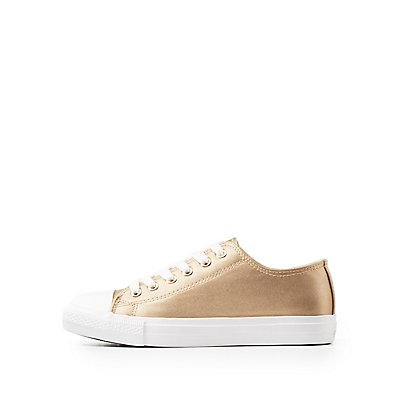 Qupid Metallic Cap Toe Lace-Up Sneakers