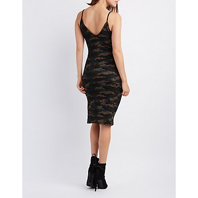 Camo Ribbed Bodycon Midi Dress