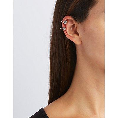 Stud Earrings & Fringe Ear Cuff Set
