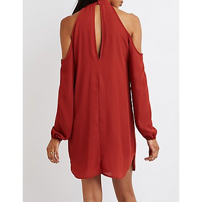 Mock Neck Cold Shoulder Shift Dress