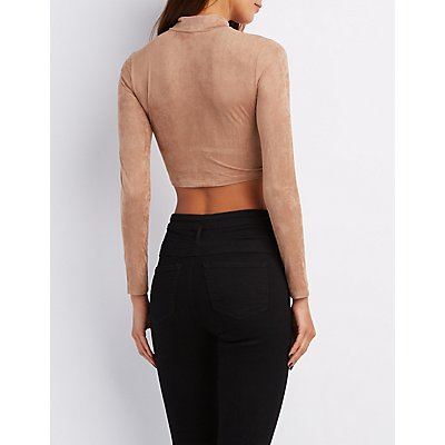Faux Suede Surplice Crop Top