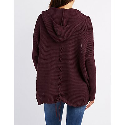 Plus Size Hooded Lace-Up Cocoon Cardigan