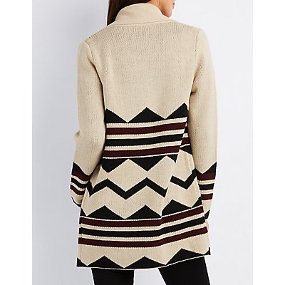 Aztec Shawl Collar Cardigan